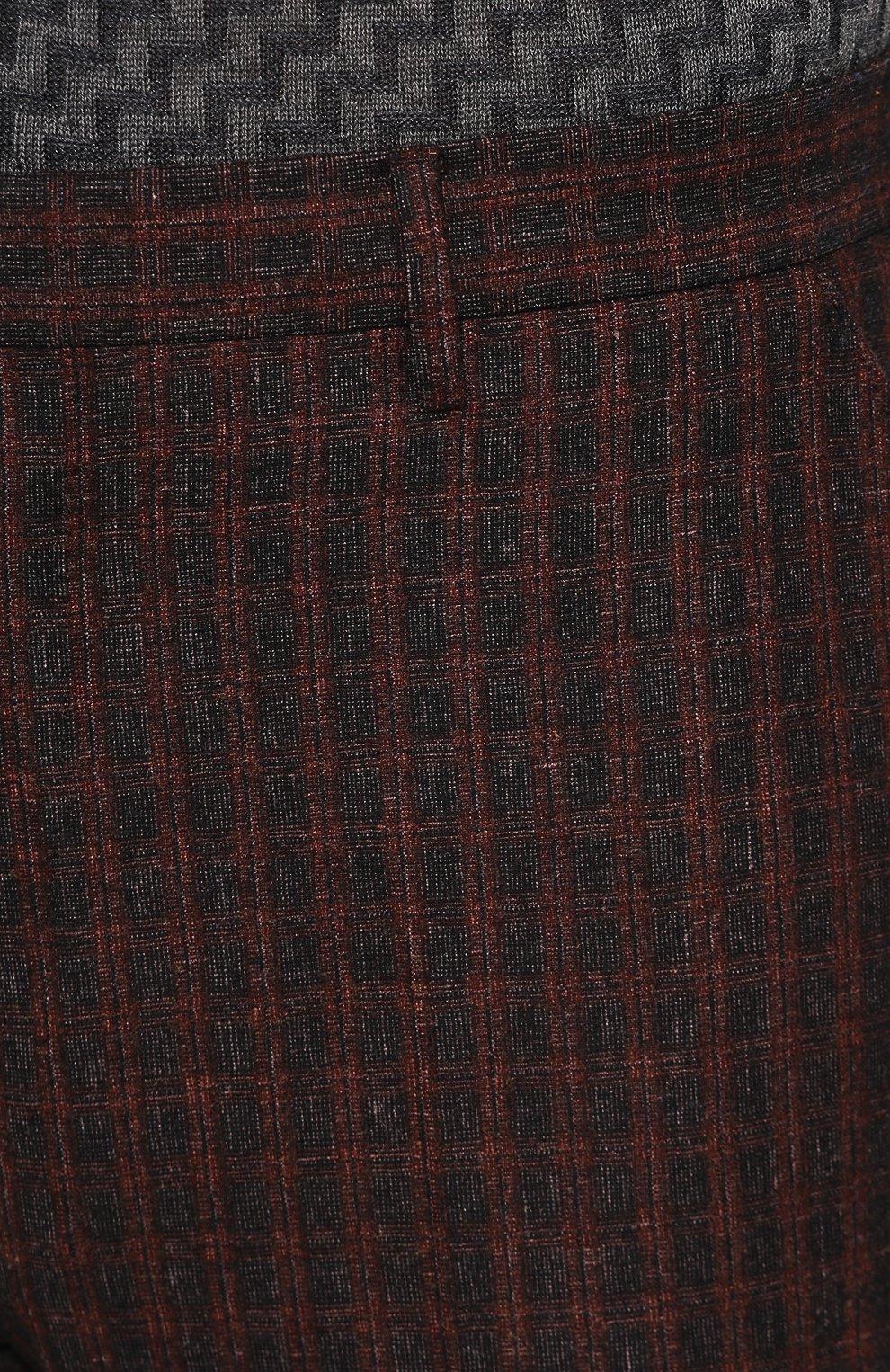 Мужские брюки из смеси шерсти и шелка ANDREA CAMPAGNA коричневого цвета, арт. VULCAN0/VB1293 | Фото 5