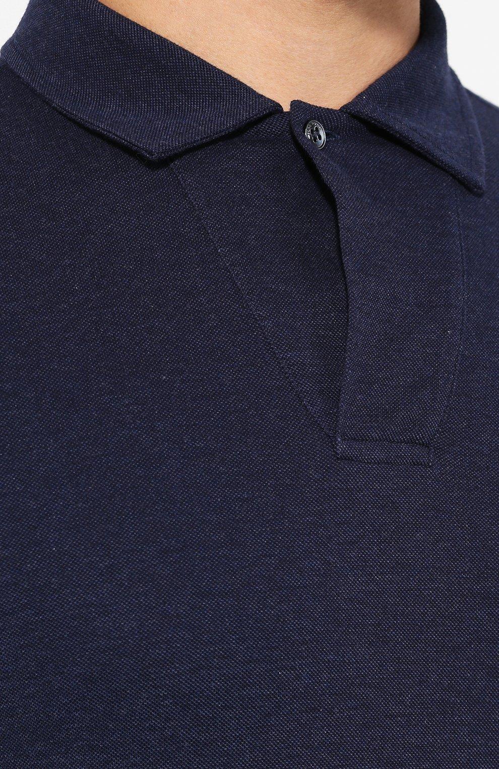 Мужское хлопковое поло LORO PIANA темно-синего цвета, арт. FAI2713   Фото 5
