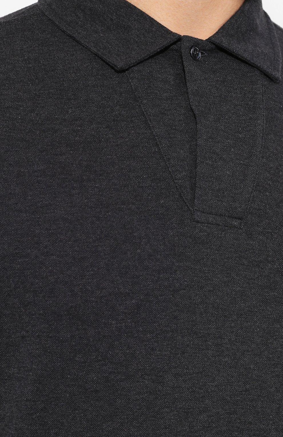 Мужское хлопковое поло LORO PIANA темно-серого цвета, арт. FAI2713   Фото 5