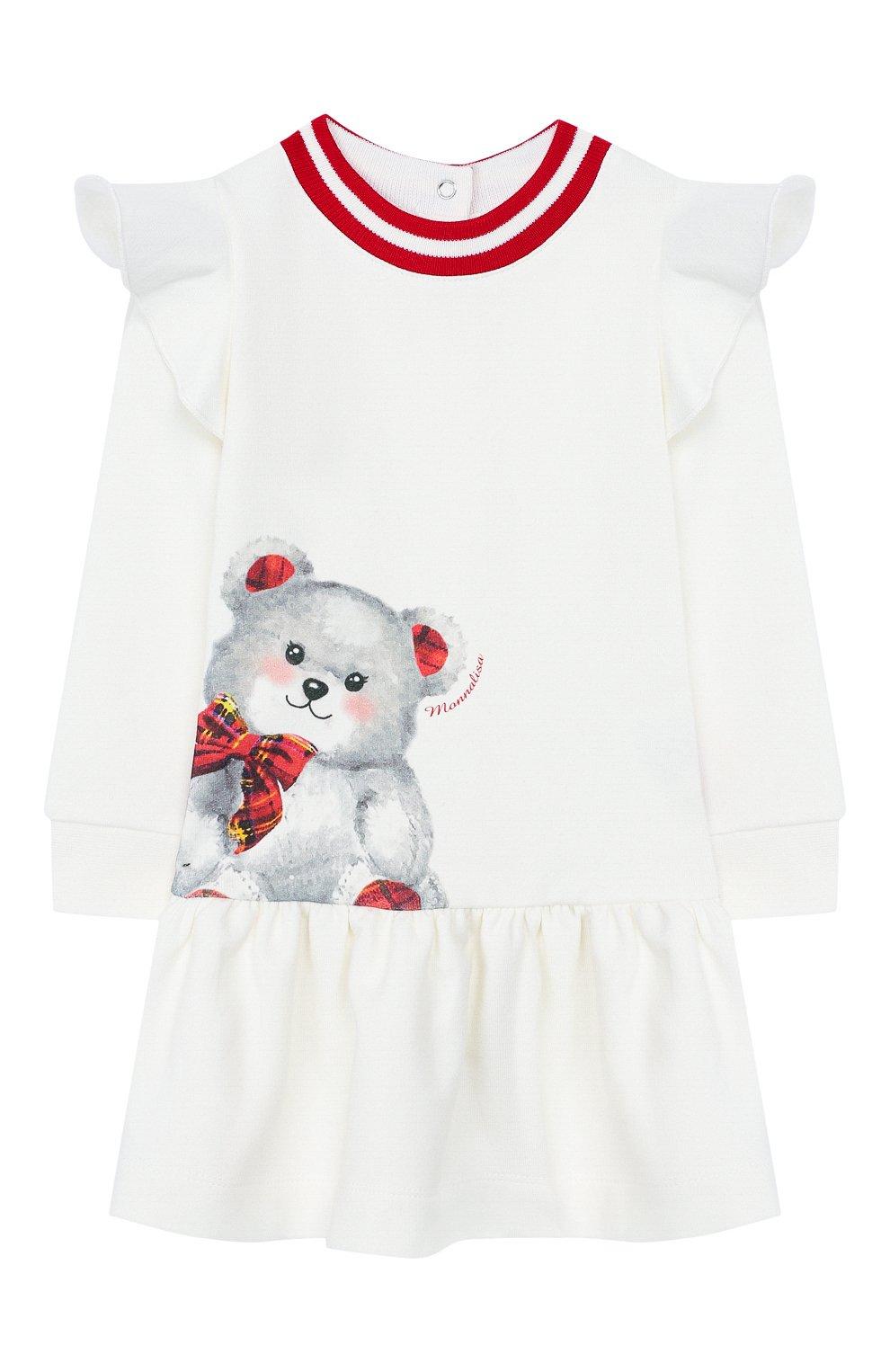 Женский хлопковое платье MONNALISA белого цвета, арт. 394905P9 | Фото 1