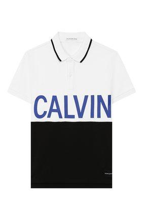 Детское хлопковое поло CALVIN KLEIN JEANS белого цвета, арт. IB0IB00192   Фото 1