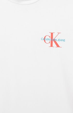 Детская хлопковая футболка CALVIN KLEIN JEANS белого цвета, арт. IG0IG00222 | Фото 3