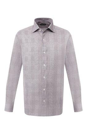 Мужская хлопковая сорочка TOM FORD черно-белого цвета, арт. 6FT123/94S1AX | Фото 1