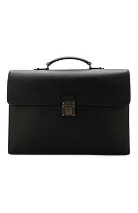 Мужской кожаный портфель SERAPIAN черного цвета, арт. SEV0LMLL5971M40B | Фото 1