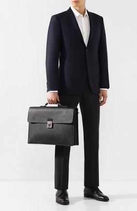 Мужской кожаный портфель SERAPIAN черного цвета, арт. SEV0LMLL5971M40B | Фото 2