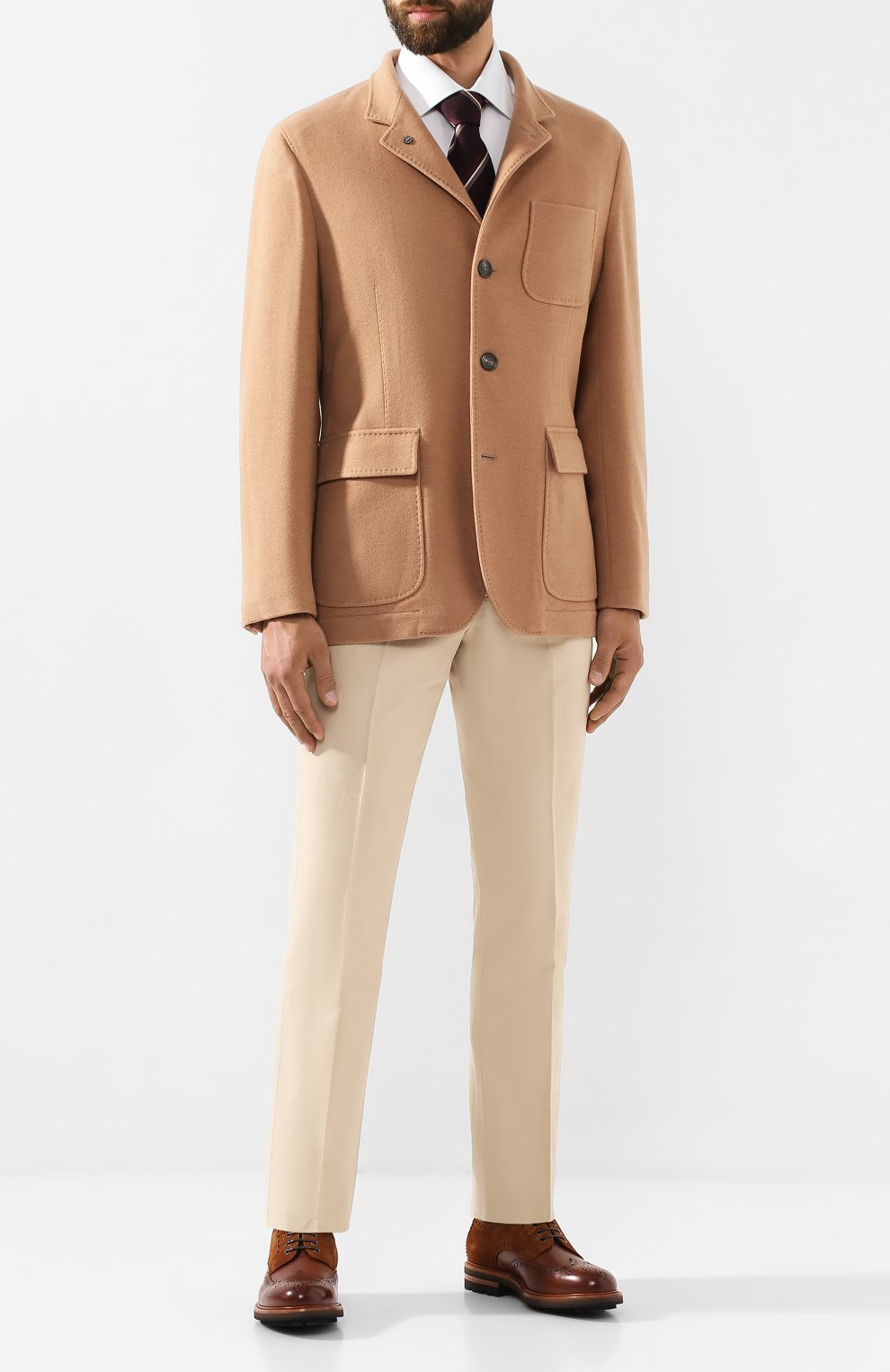 Мужские кожаные дерби BRUNELLO CUCINELLI бежевого цвета, арт. MZUVSPM953 | Фото 2