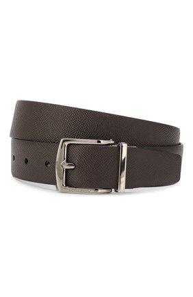 Мужской кожаный ремень BURBERRY темно-коричневого цвета, арт. 8015586 | Фото 1