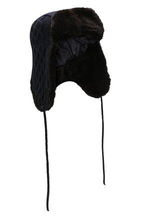 Мужская шерстяная шапка-ушанка с меховой подкладкой ANDREA CAMPAGNA темно-синего цвета, арт. WU92-A415CTSUM | Фото 1