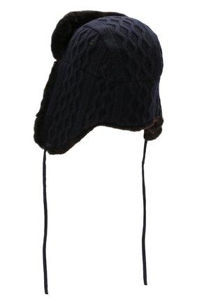 Мужская шерстяная шапка-ушанка с меховой подкладкой ANDREA CAMPAGNA темно-синего цвета, арт. WU92-A415CTSUM | Фото 2