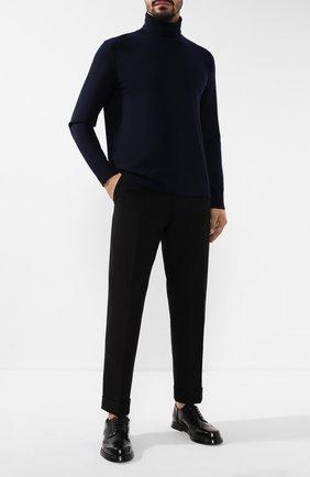 Мужской брюки из смеси хлопка и шерсти DRIES VAN NOTEN черного цвета, арт. 192-20932-8323 | Фото 2