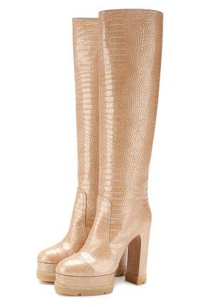 Женские кожаные сапоги CASADEI бежевого цвета, арт. 1S042N1201FUNKY3201 | Фото 1