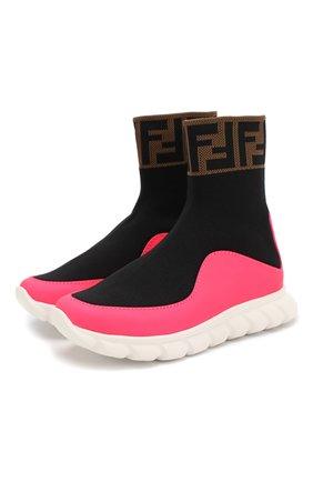 Детские текстильные кроссовки FENDI разноцветного цвета, арт. JMR289/A8CL/27 | Фото 1