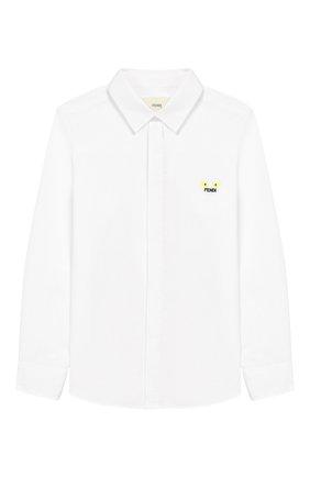 Детская хлопковая рубашка FENDI белого цвета, арт. JMC086/A31W/10A-12+ | Фото 1