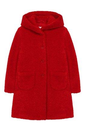 Детское пальто из эко-меха с капюшоном IL GUFO красного цвета, арт. A19GP250PE012/5A-8A | Фото 1