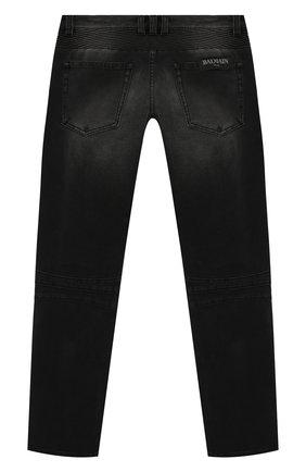 Детские джинсы с потертостями BALMAIN черного цвета, арт. 6L6550/LB020/12-16   Фото 2
