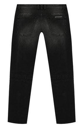 Детские джинсы с потертостями BALMAIN черного цвета, арт. 6L6550/LB020/4-10   Фото 2