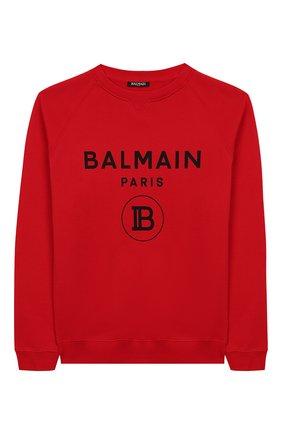 Детский хлопковый свитшот BALMAIN красного цвета, арт. 6L4630/LX200/4-10 | Фото 1