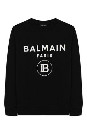 Детский хлопковый свитшот BALMAIN черного цвета, арт. 6L4630/LX200/4-10 | Фото 1