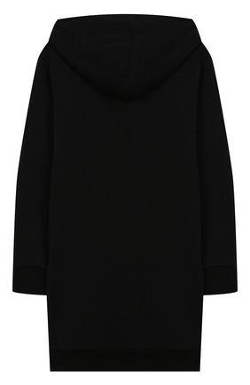 Детское хлопковое платье с капюшоном BALMAIN черного цвета, арт. 6L1060/LC990/4-10 | Фото 2
