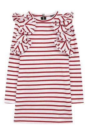 Детское хлопковое платье BALMAIN красного цвета, арт. 6L1040/LA840/4-10 | Фото 1