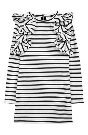 Детское хлопковое платье BALMAIN черно-белого цвета, арт. 6L1040/LA840/4-10 | Фото 1