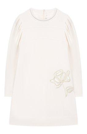 Детское платье SIMONETTA белого цвета, арт. 1L1240/LA300/5-8 | Фото 1