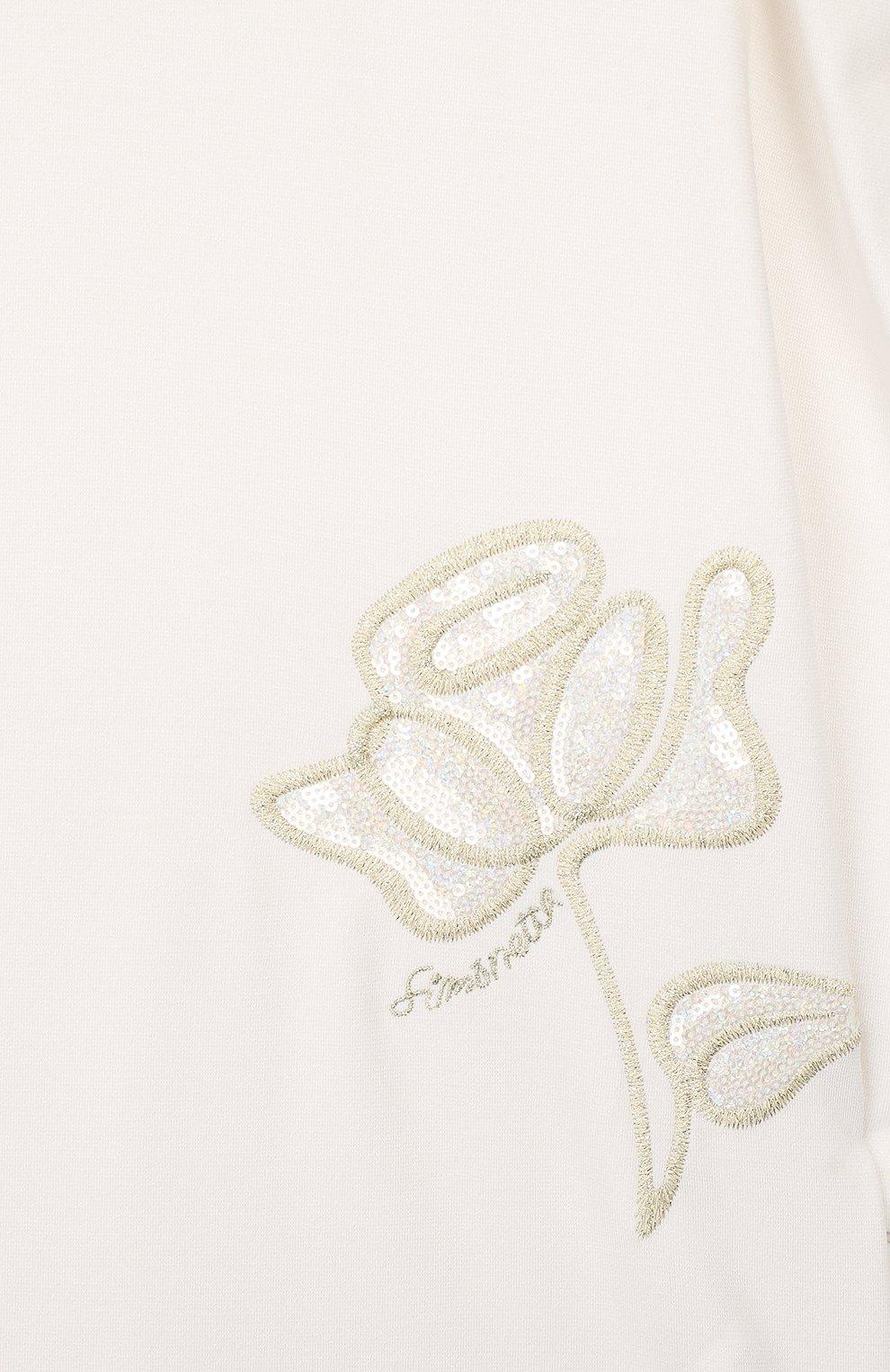 Детское платье SIMONETTA белого цвета, арт. 1L1240/LA300/10-14+   Фото 3 (Рукава: Длинные; Ростовка одежда: 10 - 11 лет   140 - 146см, 12 лет   152 см, 13 - 15 лет   158 см)