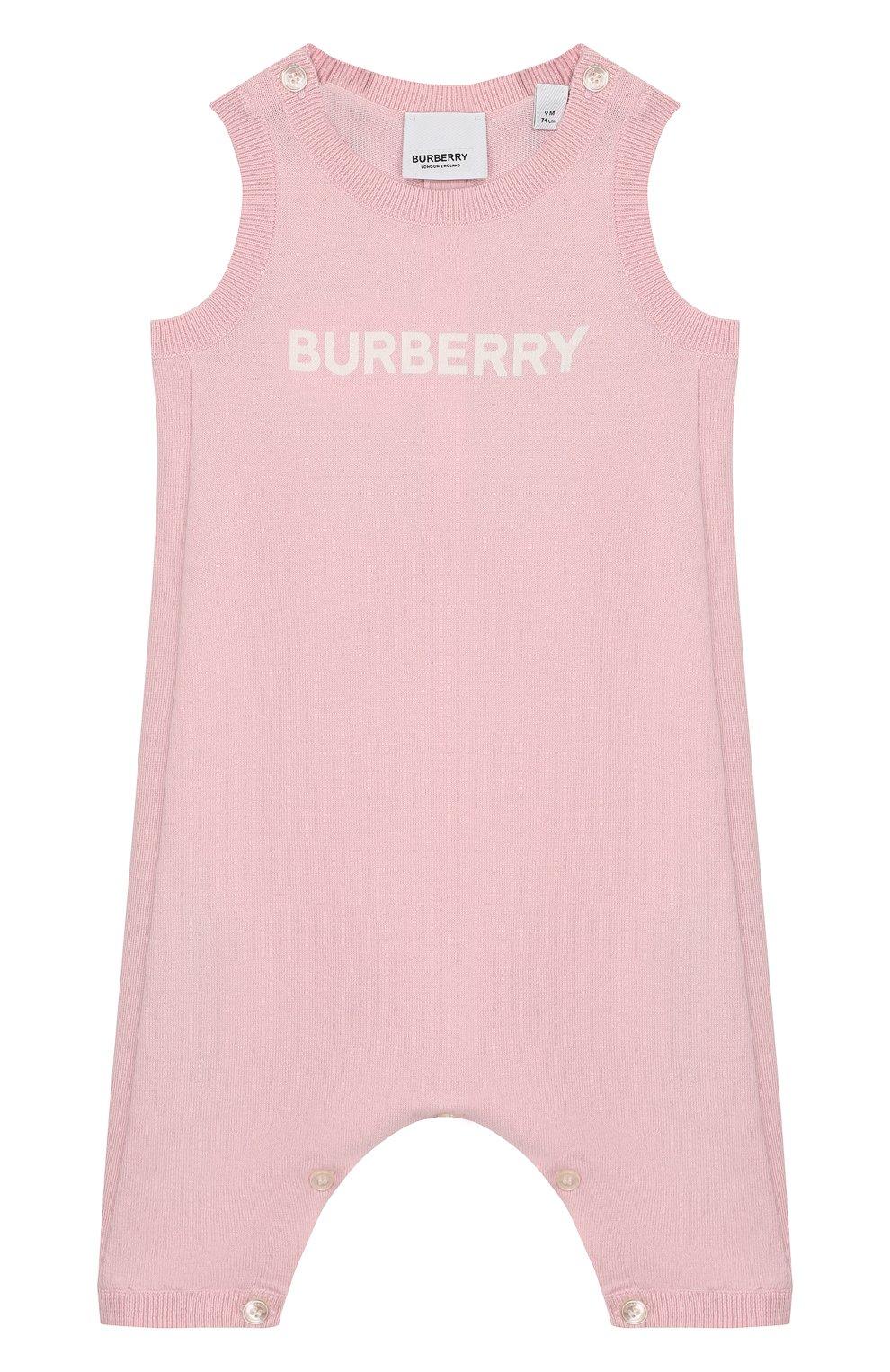 Детский хлопковый комбинезон BURBERRY розового цвета, арт. 8016720 | Фото 1