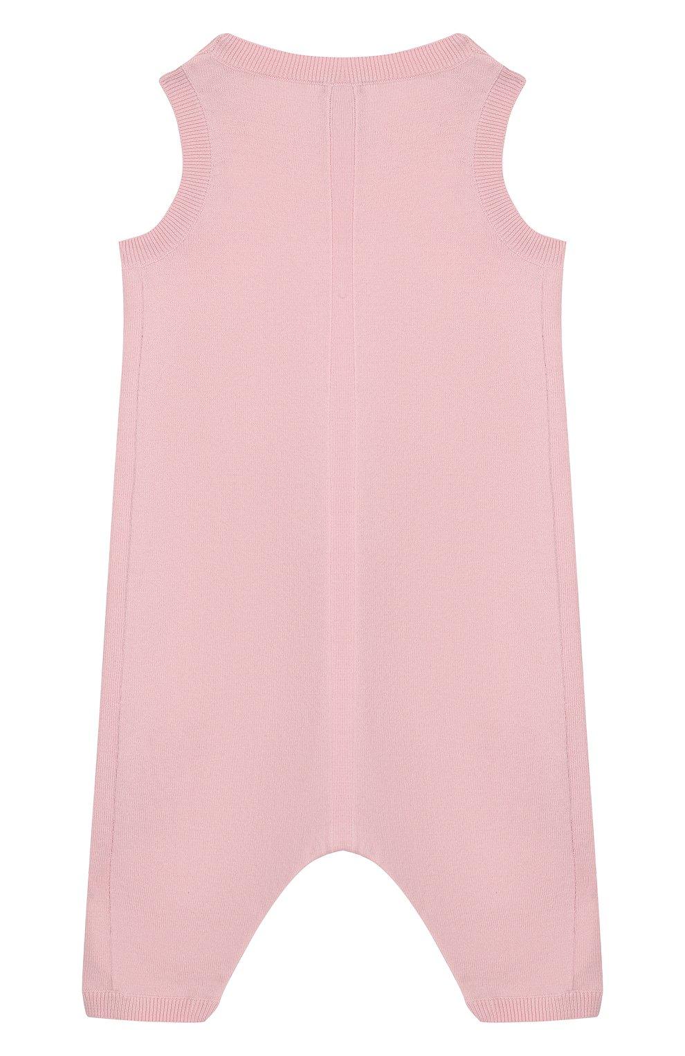 Детский хлопковый комбинезон BURBERRY розового цвета, арт. 8016720 | Фото 2