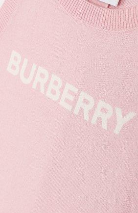 Детский хлопковый комбинезон BURBERRY розового цвета, арт. 8016720 | Фото 3