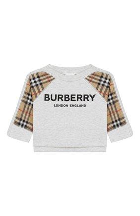 Детский хлопковый свитшот BURBERRY серого цвета, арт. 8011012 | Фото 1