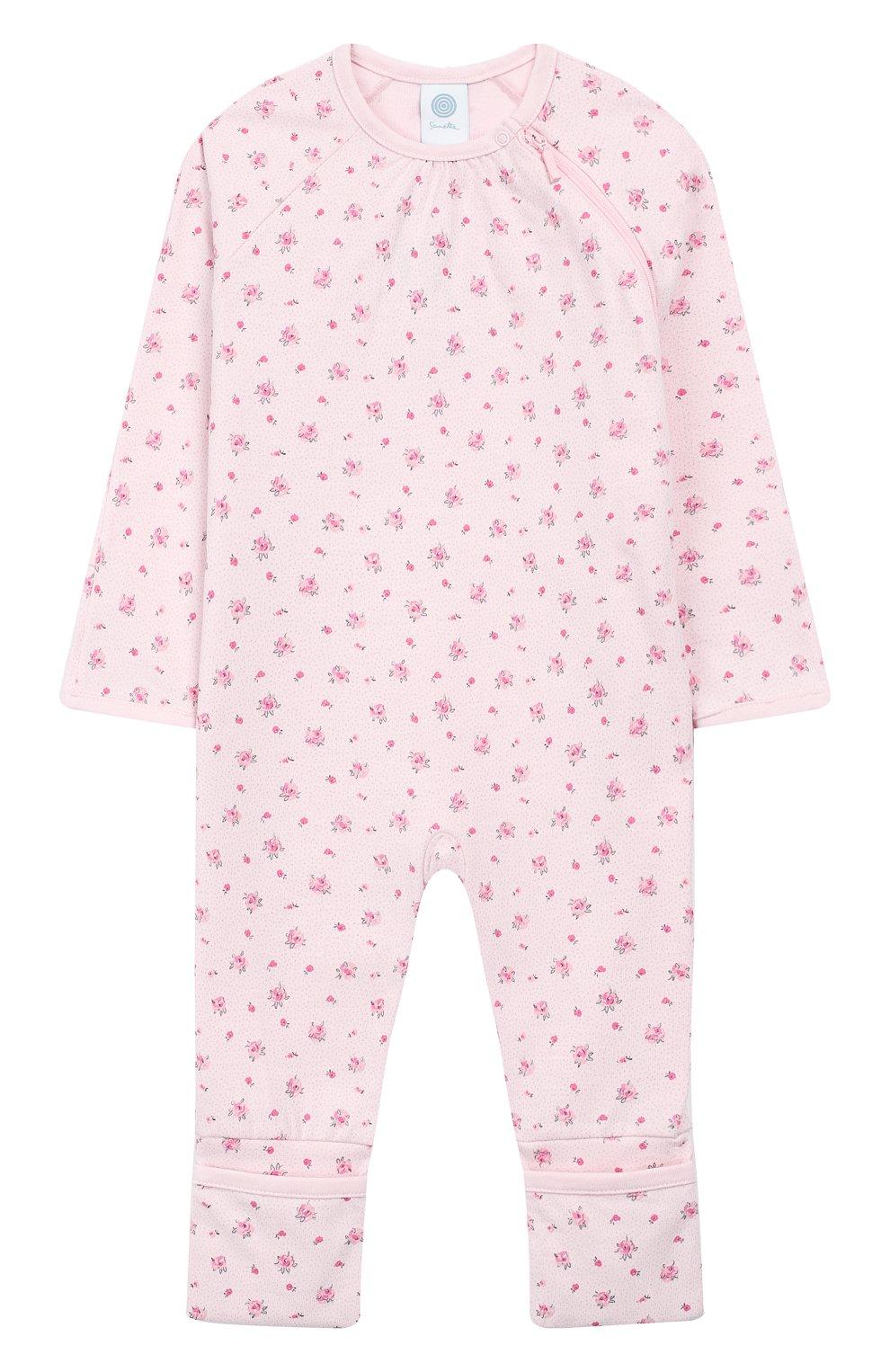 Детский хлопковый комбинезон SANETTA розового цвета, арт. 221469   Фото 1