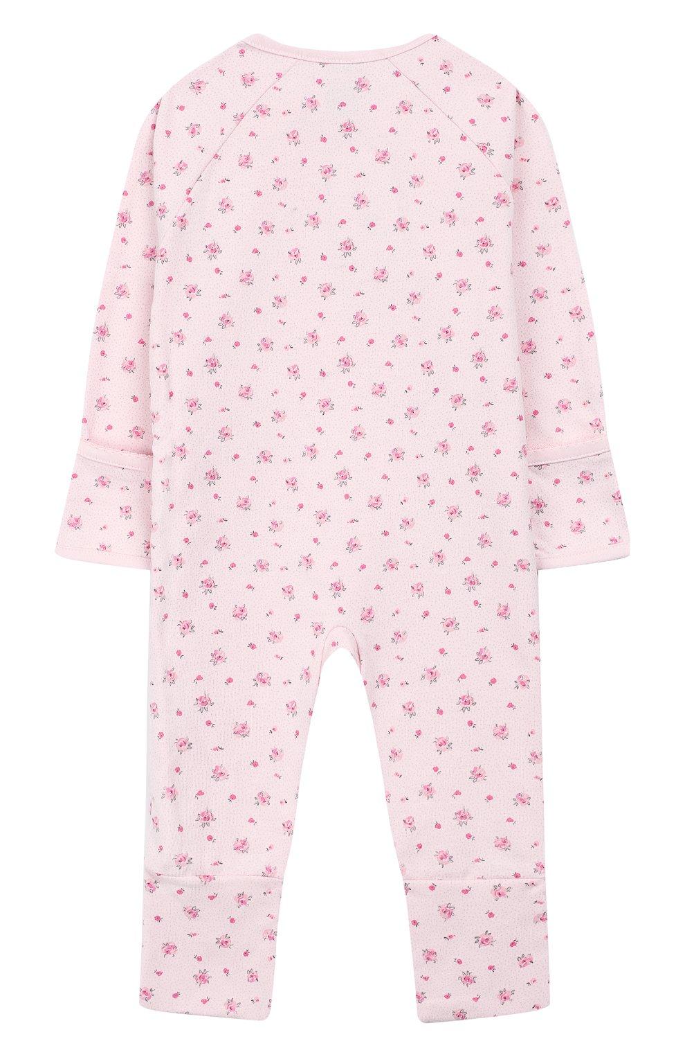 Детский хлопковый комбинезон SANETTA розового цвета, арт. 221469   Фото 2