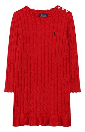 Детское хлопковое платье POLO RALPH LAUREN красного цвета, арт. 312758407 | Фото 1