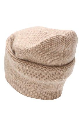 Женский кашемировая шапка WILLIAM SHARP бежевого цвета, арт. A104-1 | Фото 2