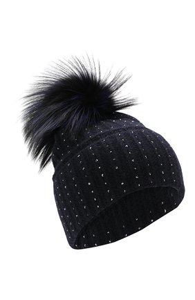 Женский кашемировая шапка WILLIAM SHARP темно-синего цвета, арт. A109-2/SILVER F0X DYED | Фото 1