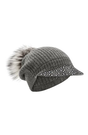 Женская кашемировая шапка WILLIAM SHARP темно-серого цвета, арт. A119-2/SILVER F0X NATURAL   Фото 1