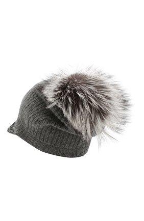 Женская кашемировая шапка WILLIAM SHARP темно-серого цвета, арт. A119-2/SILVER F0X NATURAL   Фото 2