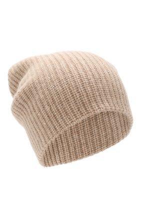 Женский кашемировая шапка WILLIAM SHARP бежевого цвета, арт. A61-13 | Фото 1