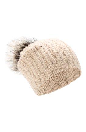 Женская кашемировая шапка WILLIAM SHARP светло-бежевого цвета, арт. A76-6/ICEBERG F0X   Фото 1