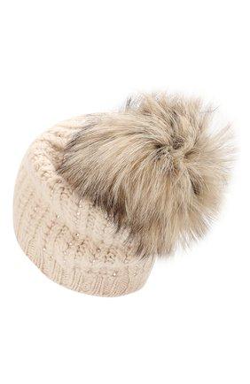 Женская кашемировая шапка WILLIAM SHARP светло-бежевого цвета, арт. A76-6/ICEBERG F0X   Фото 2
