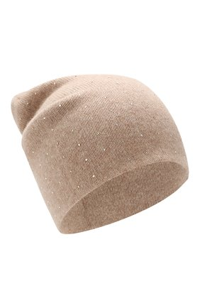 Женский кашемировая шапка WILLIAM SHARP бежевого цвета, арт. HT 19-46 | Фото 1