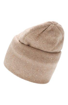 Женский кашемировая шапка WILLIAM SHARP бежевого цвета, арт. HT 19-46 | Фото 2