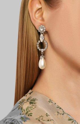 Женские серьги-клипсы MIU MIU серебряного цвета, арт. 5JO372-2ARA-F0QCD | Фото 2