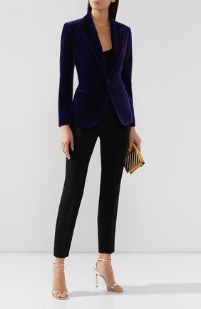 Женский бархатный жакет RALPH LAUREN фиолетового цвета, арт. 290777409 | Фото 2