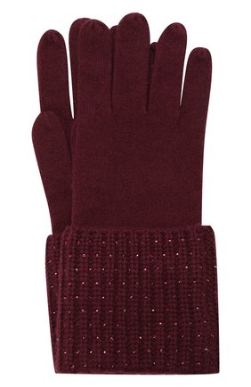 Женские кашемировые перчатки WILLIAM SHARP бордового цвета, арт. A113-1   Фото 1