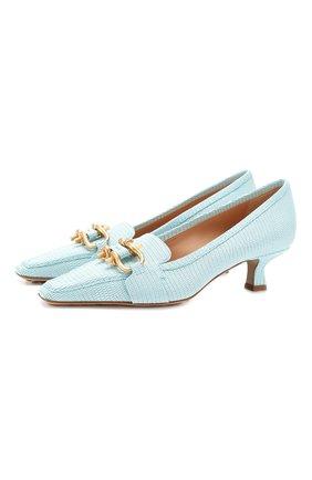 Женская кожаные туфли BOTTEGA VENETA голубого цвета, арт. 592037/VA460 | Фото 1