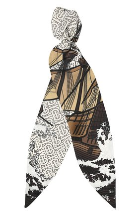 Женская шелковый платок для волос BURBERRY черно-белого цвета, арт. 8021946 | Фото 1