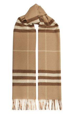 Женский кашемировый шарф BURBERRY светло-коричневого цвета, арт. 8016399   Фото 1 (Материал: Кашемир, Шерсть; Статус проверки: Проверено)