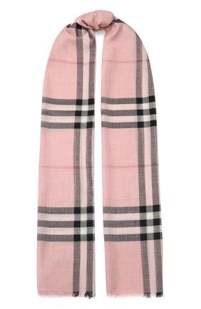 Мужские шарф из смеси шерсти и шелка BURBERRY розового цвета, арт. 8015403 | Фото 1